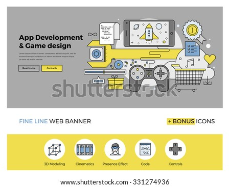 Flat line design of web banner template with outline icons of software application development, mobile OS game programming and testing. Modern vector illustration concept for website or infographics. - stock vector