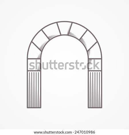 Flat line design round arch. Flat line vintage design vector icon for round arch on gray background. - stock vector