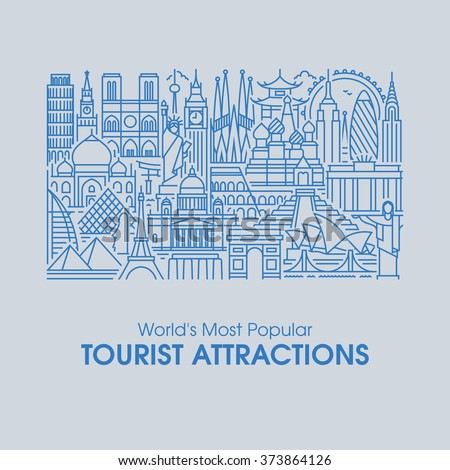 Flat line design style illustration of world's most popular tourist attractions. Modern vector background for traveling, summer vacation, tourism and journey concepts - stock vector