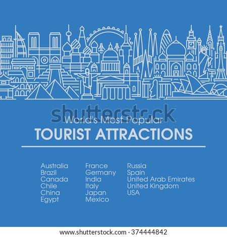 Flat line design style illustration of world's most popular tourist locations. Modern vector background for traveling, summer vacation, tourism and journey concepts - stock vector