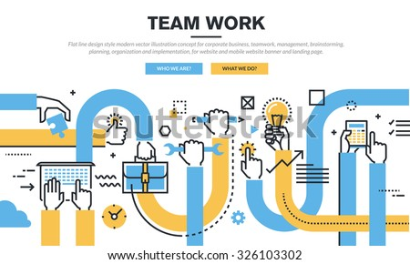 Flat line design style modern vector illustration concept for corporate business, teamwork, management, brainstorming, planning, organization and implementation, for website banner and landing page. - stock vector