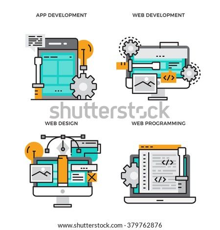 Flat line design vector illustration concept of App Development, Web Development, Web Design, Web Programming. Design for Website Element , Web Banner and promotional materials. Editable Stroke. - stock vector