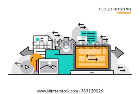 Flat line design vector illustration concept of Database, Big Data, Network, Data Analysis, Online Storage. Design for Website Element , Web Banner and promotional materials. Editable Stroke. - stock vector