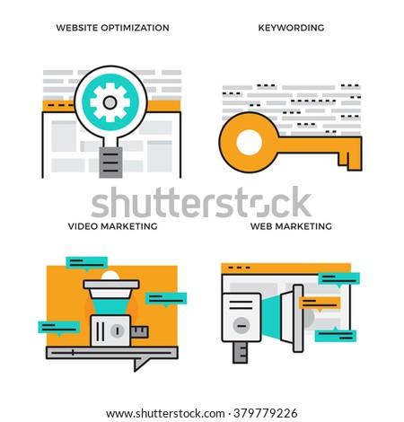 Flat line design vector illustration concept of Website Optimisation, Keyword, Video Marketing, Web Marketing. Design for Website Element , Web Banner and promotional materials. Editable Stroke. - stock vector