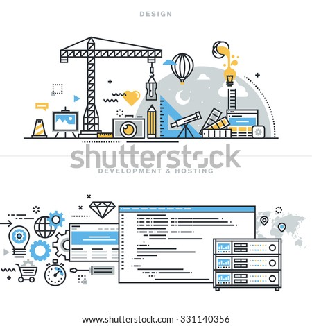 Flat line design vector illustration concepts for graphic design, freelancers and design agencies, website and app design and development, hosting, ssl, for website banner and landing page. - stock vector