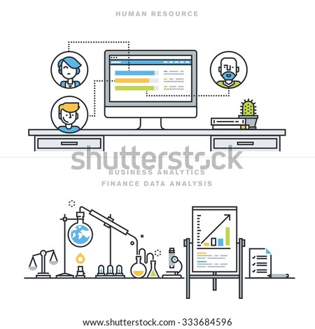 Flat line design vector illustration concepts for human resources, people management, professional skills, business analytics, finance data analysis, for website banner and landing page. - stock vector