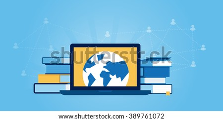 Flat line design website banner of education for all, distance education. Modern vector illustration for web design, marketing and print material. - stock vector