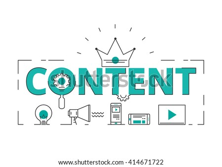 Flat line design word content concept of content digital marketing with icons and elements. Can be used for book cover, report header, presentation,infographics, printing, website banner. - stock vector