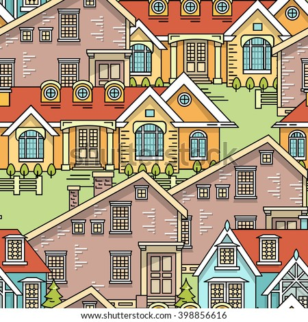 Flat line family house seamless pattern. Color vector linear illustration. Outlined stroke realty background. Poster, flyer, web banner, endless texture. Citiscape, dwelling house, building - stock vector