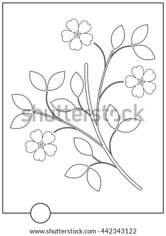 Flat line flower isolated on white background. Vector image.