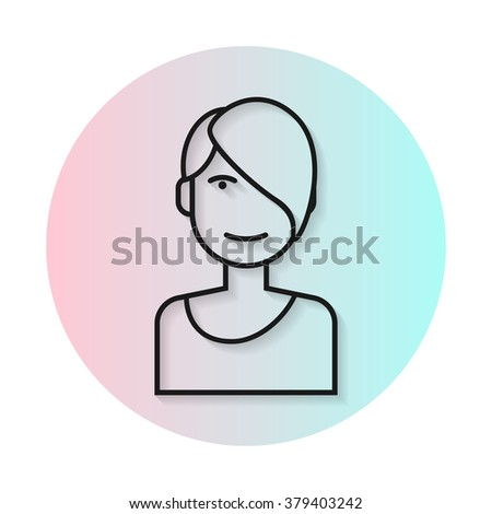 Flat line icon hairstyle woman. Long straight shadow. Fashionable asymmetrical haircut. Vector flat illustration. - stock vector