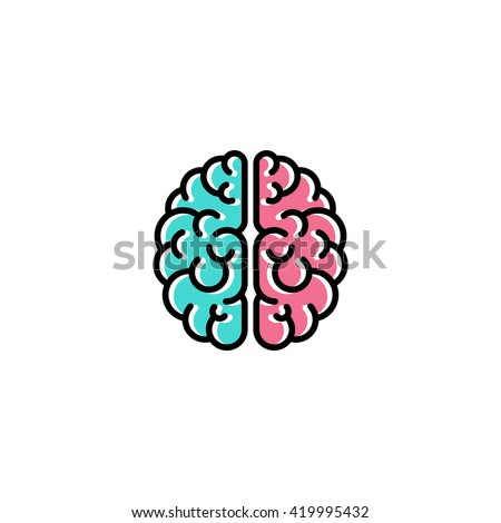 Flat line icon of brain. Creativity logo template - stock vector