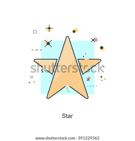 Flat line icons color Star. Vector format - stock vector
