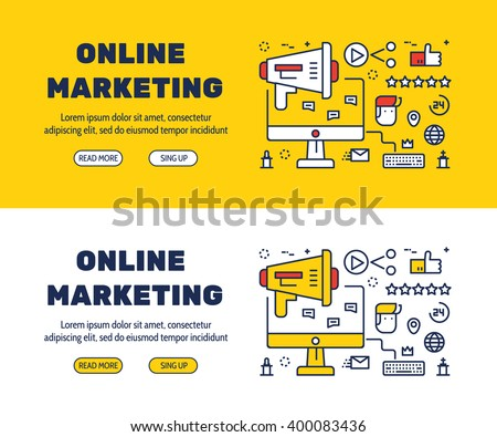 Flat line icons design of online marketing and elements illustration concept for website banner, printing , book cover and corporate documents. - stock vector