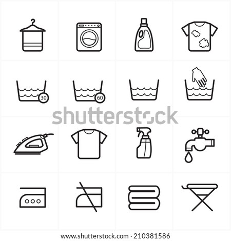 Flat Line Icons For Laundry and Washing Icons Vector Illustration - stock vector