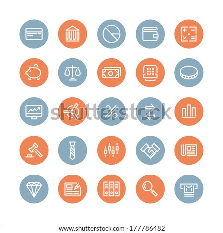 Flat line icons modern design style vector set of financial service items, banking accounting tools, stock market global trading and money objects and elements. Isolated on white background. - stock vector