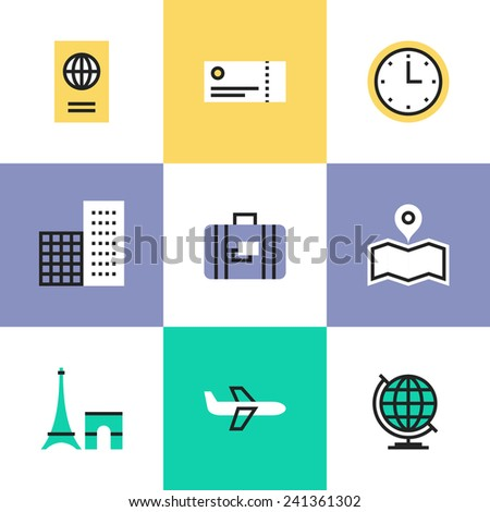 Flat line icons of business travel via airplane flight, tourist luggage and plane tickets, city landmark and world symbol. Infographic icons set, logo abstract design pictogram vector concept. - stock vector