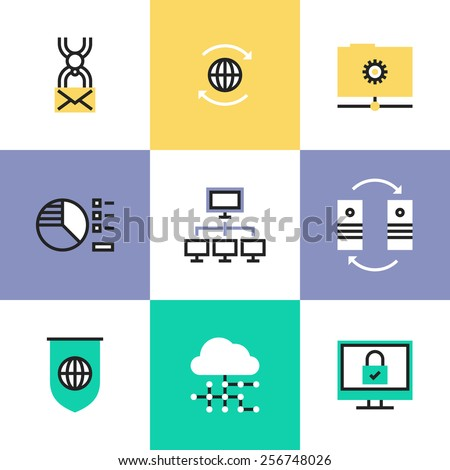 Flat line icons of cloud computing network connection, big data center transfer, internet security and virus protection. Infographic icons set, logo abstract design pictogram vector concept. - stock vector