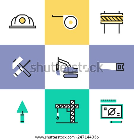 Flat line icons of construction crane symbol, building industry objects, industrial engineering tools, professional builder items. Infographic icons set, logo abstract design pictogram vector concept. - stock vector
