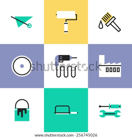 Flat line icons of construction instruments, engineering tools, industry equipments for building, repairing and painting. Infographic icons set, logo abstract design pictogram vector concept. - stock vector