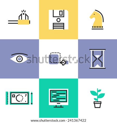 Flat line icons of creative studio workflow, effective business solution, market tactics, strategy decision, create success project. Infographic icon set, logo abstract design pictogram vector concept - stock vector