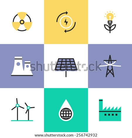 Flat line icons of global production of renewable energy, green power saving efficiency, solar panel and atomic power plant. Infographic icons set, logo abstract design pictogram vector concept. - stock vector