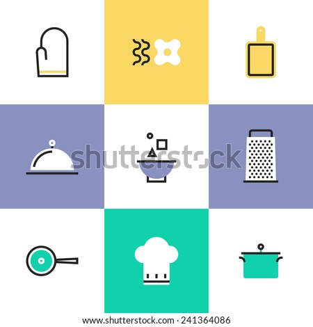 Flat line icons of kitchen tools, cooking utensils and kitchenware equipment, food preparation elements. Infographic icons set, logo abstract design pictogram vector concept. - stock vector