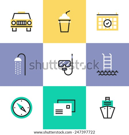 Flat line icons of luxury cruise on a ocean liner, swimming and diving relaxation, navigation to destination, vacation planning. Infographic icons set, logo abstract design pictogram vector concept. - stock vector