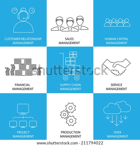 flat line icons of management of finance, sales, service - concept vector. This also represents management icons of management of supply-chain, inventory, banking, people, project, production, data - stock vector