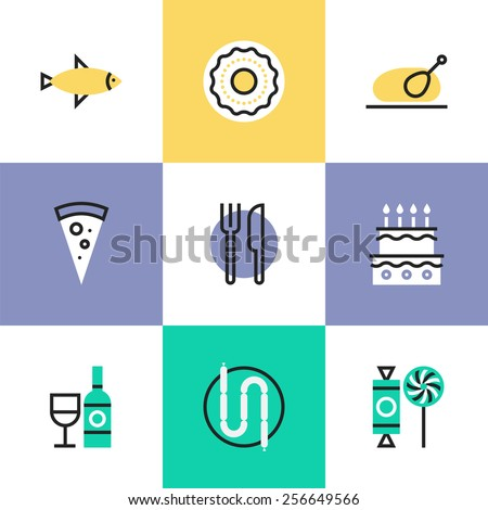 Flat line icons of preparing and serving food, various sweets like cakes and candy, bottle of wine with glass, slice of pizza. Infographic icons set, logo abstract design pictogram vector concept. - stock vector