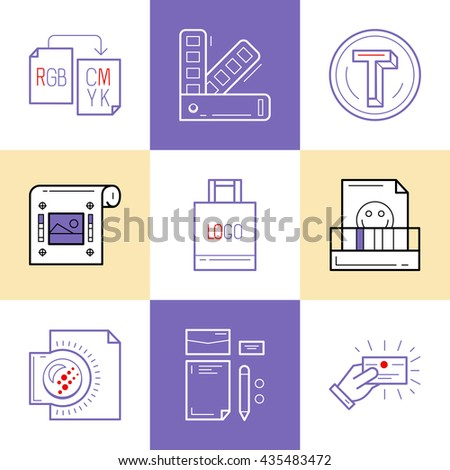 Flat line icons of Print design process, from color selection and coloring test to color printing, printing on t-shirts and print corporate identity. Print design concept - stock vector