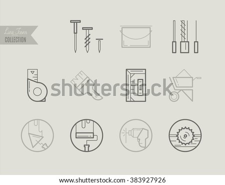 Flat Line Icons of Repair and Construction, from working tools and Measurement Instruments to Paint, Roll, Drill, Alignment and Measurement, Construction Industry Icons. - stock vector