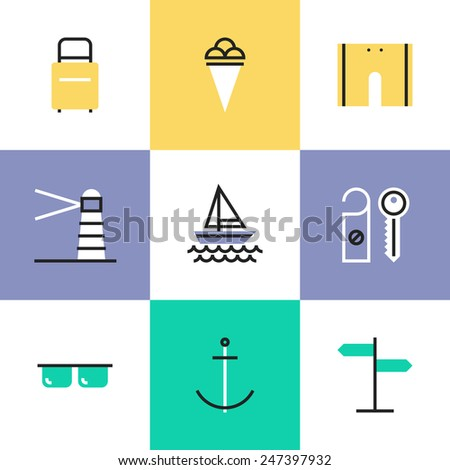 Flat line icons of sea vacation and travel, sailing ship voyage and active relaxation, tourist luggage, water-based recreation. Infographic icons set, logo abstract design pictogram vector concept. - stock vector