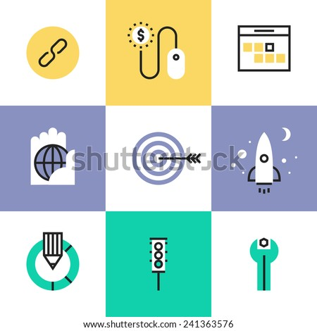 Flat line icons of SEO optimization process, startup website development, usability testing, link building, traffic metrics tools. Infographic icon set, logo abstract design pictogram vector concept. - stock vector