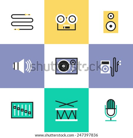 Flat line icons of sound volume and audio speaker objects, music player, musical instrument, vinyl record, cable interface plug. Infographic icons set, logo abstract design pictogram vector concept. - stock vector