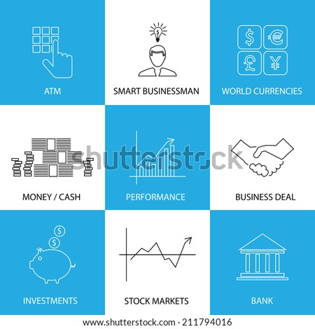 flat line icons on finance, money, currencies - concept vector. This graphic also represents financial performance with graphs, banking money and atm, investments & stock markets, business & deals - stock vector