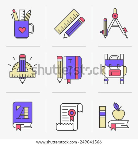 Flat Line Icons Set. Learning & Education, Stationery Set School Supplies. Isolated Objects in a Modern Style for Your Design.