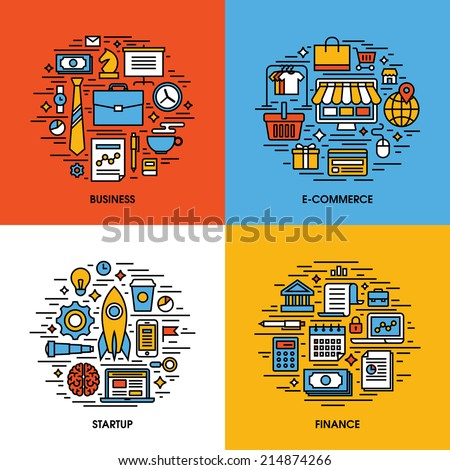 Flat line icons set of business, e-commerce, startup, finance. Creative design elements for websites, mobile apps and printed materials - stock vector