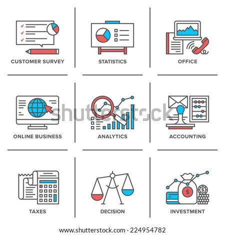 Flat line icons set of business planning process, company accounting organization, big data analytics, corporate taxes optimization. Modern trend design vector concept. Isolated on white background. - stock vector