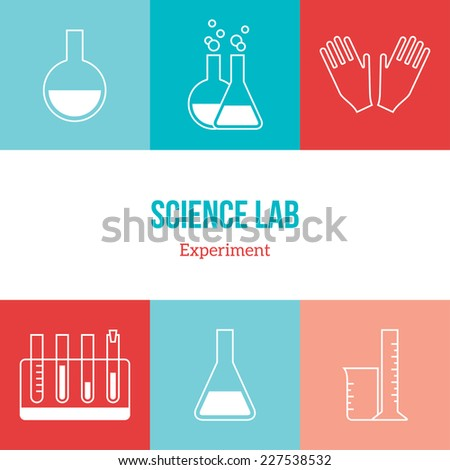 Flat line icons set of chemistry symbols and objects. Vector illustration. Science and education elements. Chemical test tubes icons. - stock vector