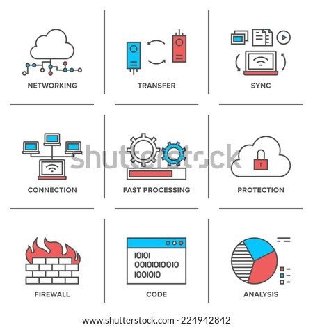 Flat line icons set of cloud computing network connection, big data transfer, firewall protection, wireless communication, system resource analysis. Modern trend design style vector concept.  - stock vector