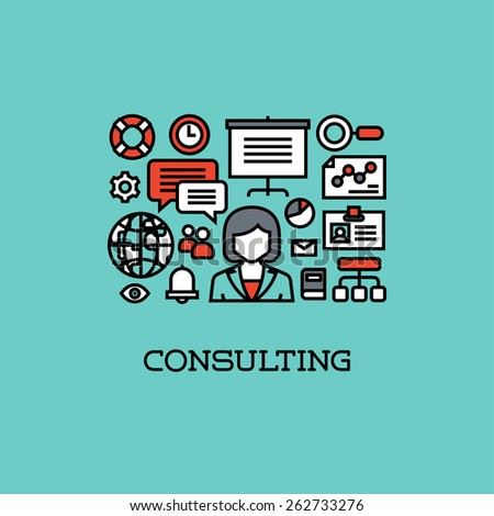 Flat line icons set of consulting. Creative design elements - stock vector