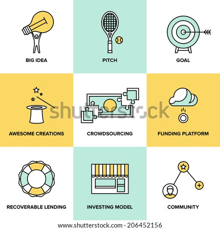 Flat line icons set of crowd funding service, investing platform for creative project, development of small business, startup model and community ideas. Modern design style vector illustration concept - stock vector