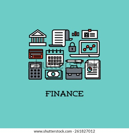 Flat line icons set of finance. Creative design elements - stock vector