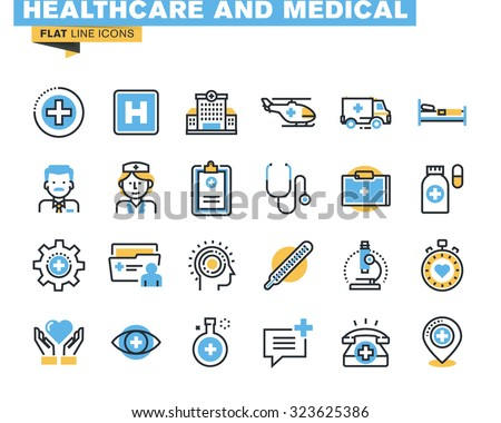 Flat line icons set of health care and medicine theme, medical services, diagnosis and treatment, laboratory, clinic and hospital facilities. Vector concept for graphic and web design. - stock vector