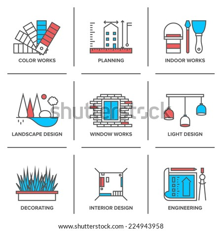 Flat Line Icons Set Interior Design Stock Vector 224943958