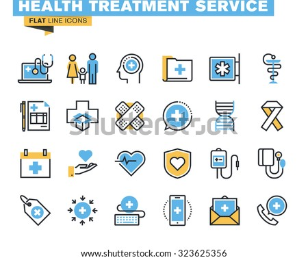 Flat line icons set of online medical support, family health care, health insurance, pharmacy, medical services. Vector concept for graphic and web design. - stock vector