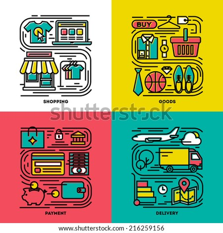 Flat line icons set of shopping, goods, payment, delivery. Creative design elements for websites, mobile apps and printed materials - stock vector