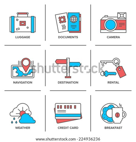 Flat line icons set of vacation traveling items, tourism documents, rental service, map navigation, travel route destination. Modern trend design style vector concept. Isolated on white background. - stock vector