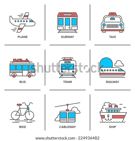 Flat line icons set of various transportation vehicle like plane, subway, taxi, bus, tramway, train, bike, cableway and sea ship. Modern trend design style vector concept. Isolated on white background - stock vector